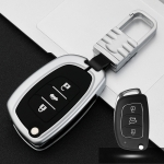 Car Luminous All-inclusive Zinc Alloy Key Protective Case Key Shell for Hyundai D Style Folding 3-button (Silver)