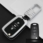 Car Luminous All-inclusive Zinc Alloy Key Protective Case Key Shell for Hyundai F Style Folding 3-button (Silver)