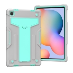 For Samsung Galaxy Tab A7 10.4 (2020) T-shaped Bracket Contrast Color Shockproof PC + Silicone Protective Case(Grey+Mint Green)