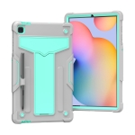 For Samsung Galaxy Tab S6 Lite P610/615 T-shaped Bracket Contrast Color Shockproof PC + Silicone Protective Case(Grey+Mint Green)