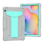 For Huawei MediaPad T5 T-shaped Bracket Contrast Color Shockproof PC + Silicone Protective Case(Grey+Mint Green)