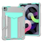 For iPad Air (2020) 10.9 / iPad Pro 11 T-shaped Bracket Contrast Color Shockproof PC + Silicone Protective Case(Grey+Mint Green)