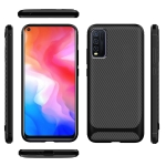 For vivo Y50 Carbon Fiber Texture Shockproof TPU Protective Case(Black)