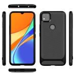 For Xiaomi Redmi 9C Carbon Fiber Texture Shockproof TPU Protective Case(Black)