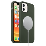 Magnetic Liquid Silicone Full Coverage Shockproof Case with Magsafe Charging Magnet For iPhone 12 mini(Deep Green)