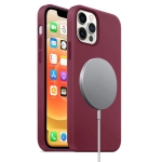 Magnetic Liquid Silicone Full Coverage Shockproof Case with Magsafe Charging Magnet For iPhone 12 / 12 Pro(Wine Red)