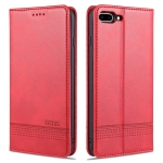AZNS Magnetic Calf Texture Horizontal Flip Leather Case with Card Slots & Holder & Wallet For iPhone 8 Plus/7 Plus(Red)