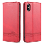 AZNS Magnetic Calf Texture Horizontal Flip Leather Case with Card Slots & Holder & Wallet For iPhone XS Max(Red)