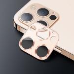 USAMS US-BH704 One-piece Metal Frame Rear Camera Lens Tempered Glass Film For iPhone 12 Pro(Gold)