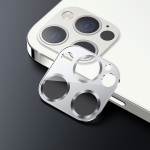 USAMS US-BH707 One-piece Metal Frame Rear Camera Lens Tempered Glass Film For iPhone 12 Pro Max(Silver)