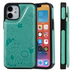 Cat Bee Embossing Pattern Shockproof Protective Case with Card Slots & Photo Frame For iPhone 12 mini (Green)