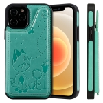 Cat Bee Embossing Pattern Shockproof Protective Case with Card Slots & Photo Frame For iPhone 12 / 12 Pro (Green)