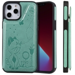 Cat Bee Embossing Pattern Shockproof Protective Case with Card Slots & Photo Frame For iPhone 12 Pro Max (Green)