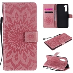 For OnePlus Nord Pressed Printing Sunflower Pattern Horizontal Flip PU Leather Case with Holder & Card Slots & Wallet & Lanyard(Pink)