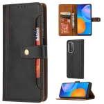For Huawei P smart 2021 Calf Texture Double Fold Clasp Horizontal Flip Leather Case with Photo Frame & Holder & Card Slots & Wallet(Black)