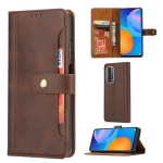 For Huawei P smart 2021 Calf Texture Double Fold Clasp Horizontal Flip Leather Case with Photo Frame & Holder & Card Slots & Wallet(Coffee)