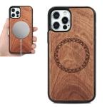Wood Veneer Ring Embossed Magsafe Case Magnetic TPU Shockproof Case For iPhone 12 mini(Rosewood)