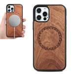 Wood Veneer Ring Embossed Magsafe Case Magnetic TPU Shockproof Case For iPhone 12 / 12 Pro(Rosewood)