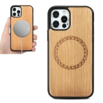 Wood Veneer Ring Embossed Magsafe Case Magnetic TPU Shockproof Case For iPhone 12 / 12 Pro(Cherry Wood)