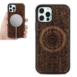 Wood Veneer Mandala Embossed Magsafe Case Magnetic TPU Shockproof Case For iPhone 12 mini(Rosewood)