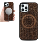 Wood Veneer Mandala Embossed Magsafe Case Magnetic TPU Shockproof Case For iPhone 12 / 12 Pro(Rosewood)