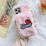 Rose Flower Hand Warmer Plush Shockproof TPU Case For iPhone 12 / 12 Pro(Pink)