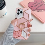 Plating Marble Pattern Soft TPU Protective Case with Ring Holder For iPhone 12 / 12 Pro(Pink Lattice)