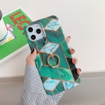 Plating Marble Pattern Soft TPU Protective Case with Ring Holder For iPhone 12 / 12 Pro(Dark Green Lattice)