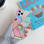 Plating Marble Pattern Soft TPU Protective Case with Ring Holder For iPhone 11(Color Lattice)