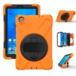 For Lenovo Tab M8 Shockproof Colorful Silicone + PC Protective Case with Holder & Hand Grip Strap & Shoulder Strap(Orange)