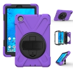 For Lenovo Tab M8 Shockproof Colorful Silicone + PC Protective Case with Holder & Hand Grip Strap & Shoulder Strap(Purple)