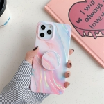 Laser Marble Pattern TPU Protective Case with Folding Holder For iPhone 12 / 12 Pro(Pink Floating Cloud)