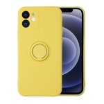 Solid Color Liquid Silicone Shockproof Full Coverage Protective Case with Ring Holder For iPhone 12 Pro(Yellow)