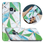 For Samsung Galaxy S9 Flat Plating Splicing Gilding Protective Case(Green Triangle Body Color Matching)