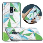 For Samsung Galaxy S9+ Flat Plating Splicing Gilding Protective Case(Green Triangle Body Color Matching)