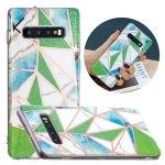 For Samsung Galaxy S10+ Flat Plating Splicing Gilding Protective Case(Green Triangle Body Color Matching)