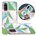 For Samsung Galaxy S20+ Flat Plating Splicing Gilding Protective Case(Green Triangle Body Color Matching)