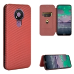For Nokia 3.4 Carbon Fiber Texture Magnetic Horizontal Flip TPU + PC + PU Leather Case with Card Slot(Brown)