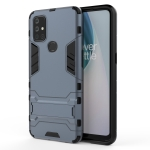 For OnePlus Nord N10 5G Shockproof PC + TPU Protective Case with Hidden Holder(Navy Blue)