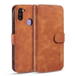 For Samsung Galaxy M11 / A11 (EU Version) DG.MING Retro Oil Side Horizontal Flip Case with Holder & Card Slots & Wallet(Brown)