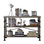 [US Warehouse] Modern Metal Frame Wooden 3-layer Sofa Table Console Table, Size: 76.3 x 47.2 x 15.7 inch