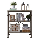 [US Warehouse] Modern Metal Frame Wooden 3-layer Bookshelf, Size: 34.8 x 32.7 x 16.1 inch
