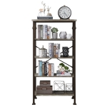 [US Warehouse] Modern Metal Frame Wooden 5-layer Bookshelf, Size: 62.4 x 32.7 x 16.1 inch