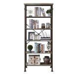 [US Warehouse] Modern Metal Frame Wooden 6-layer Bookshelf, Size: 76.2 x 32.7 x 16.1 inch
