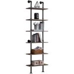 [US Warehouse] Modern Metal Frame Wooden 6-layer Ladder Shape Bookshelf, Size: 82.87 x 23.62 x 9.84 inch