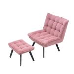 [US Warehouse] Modern Simple Fashion Leisure Sofa Chair with Black Metal Legs (Pink)