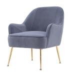 [US Warehouse] Modern Simple Fashion Velvet Chair with Gold Metal Legs (Grey)