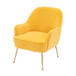 [US Warehouse] Modern Simple Fashion Velvet Chair with Gold Metal Legs (Yellow)