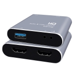 Z37 HDMI Female + Mic to HDMI Female + Audio + USB HD Video & Audio Capture Card with Loop