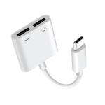 FT_AC42 2 in 1 18W PD USB-C / Type-C Male to USB-C / Type-C Audio + USB-C / Type-C Charging Female Audio Adapter